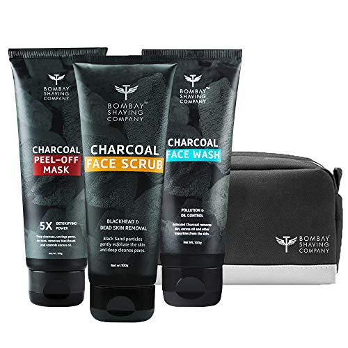 Bombay Shaving Company Charcoal Skin Care Travel Pack with Face Wash, Face Scrub and Peel Off Mask and Travel bag for Dirt removal, Tan reduction and Anti Pollution Effect (100 g x 3)