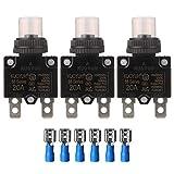 Gebildet 3pcs 88 Series 20A Disyuntores de Circuito 125/250VAC 32VDC Protector de Sobrecarga Actual con Cubierta de Botón Impermeable