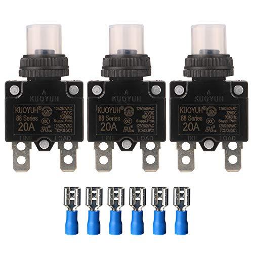 Gebildet 3pcs Serie 88 20A Leistungsschalter 125/250VAC 32VDC Überstromschutzschalter Drucktaster-Reset mit Wasserdichter Kappe