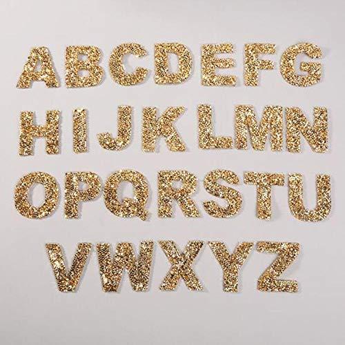 PENVEAT 26 Parches de Letras de Diamantes de imitación en inglés, Conjunto de Pegatinas de Camisetas, Parche de Hierro en el Bolso, Zapato, Rayas en la Ropa, Pegatinas de Tela DIY, n, Oro
