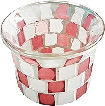 IMIKEYA Suporte de Vela Mosaico De Vidro Mancha Tigela Votiva Tealight Castiçal Mesa Aromaterapia Frasco de Copo para Peça...