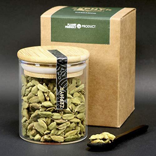 Cardamomo verde Zephyr, bacelli interi, 55 grammi, confezione ecologica, barattolo in vetro riutilizzabile