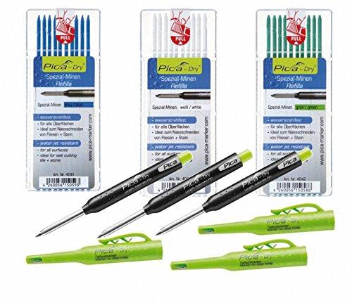Pica-Dry Longlife Automatic Pen 3x + wasserfeste Ersatzminen-Sets Blau, Grün, Weiß
