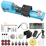 110V Mini Electric Lathe, DIY Portable Woodworking Mini Lathe Drill Kit, Mini Lathe Bead Grinding Machine, 12V DC 150W CNC Machining Desktop Wood Working Lathe All-Round Set