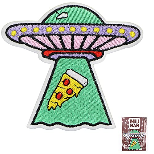 X Files UFO Pizza Patch Embroidered Applique Badge Iron On Sew On Emblem