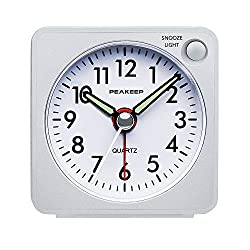 Ultra Small, Peakeep Battery Travel Alarm Clock with Snooze and Light, Silent with No Ticking Analog Quartz (White)