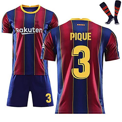 LISI Barcelona Messi Fußball Trikot für Kinder und Herren Home Replica 20/21T-Shirt Fans Outdoor Sport Set mit Socken,A,28