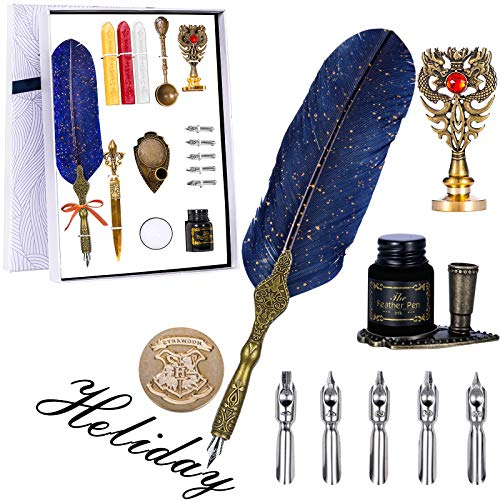 Aifeiter Feather Pen Set,Quill Pens,Upgrade Quill Pen Ink Set,Feather Pen Set Quill Pens(Blue)