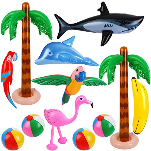 Ruisita 12 PCS Hawaiian Party Luau Party Set Inflatable Beach Balls Inflatable Palm Trees Inflatable Winged Parrot Wingless Parrot Flamingo Banana Dolphin Shark for Fiesta Party
