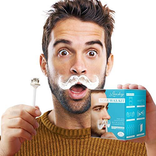 Kit de cera para la nariz iLansley Kit de depilación para hombres y mujeres 80 g/2.8oz con 20 varillas de cera aplicadores, 10 espátulas y plantillas de bigote - eficaz y seguro