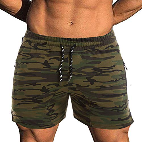 EVERWORTH Men's Solid Gym Workout Shorts Bodybuilding Running Fitted Training Jogging Short Pants with Zipper Pocket