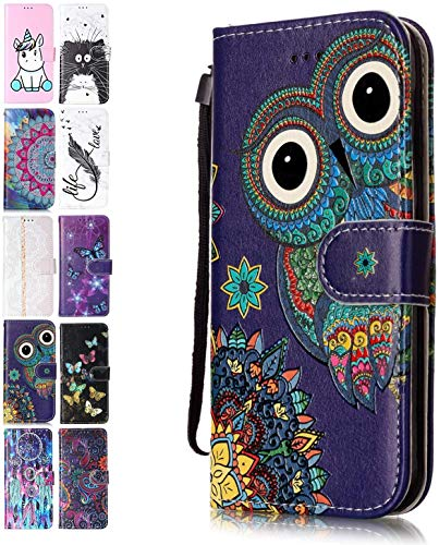 Ancase Handyhülle für Samsung Galaxy A21S Hülle Eule Muster Lederhülle Flip Hülle Cover Schutzhülle mit Kartenfach Ledertasche für Mädchen Damen