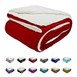Auchen Red Sherpa Fleece Blanket 130(50') X150(60') cm, Throw Size Top Luxury Double-Sided Sherpa Flannel Blanket for Sofa and Pet, Exquisite Comfortable Red Bed Blanket
