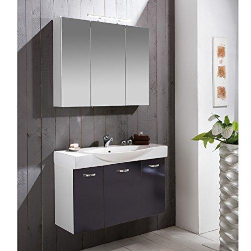 Schildmeyer Badmöbel-Set Paco 2-TLG, Spiegelschrank und Waschtisch inkl. Becken, Waschplatz 700724 weiß anthrazit Glanz, 80 cm Breite, Holzdekor