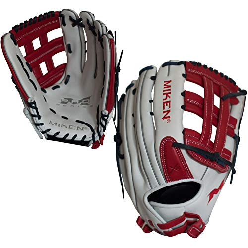 Miken Pro Series Slowpitch Softball Glove, 14 inch, White/Red, Left Hand Throw