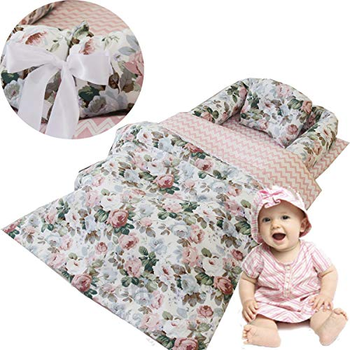 Brandream Girls Baby Nest Bed Rose Bassinet Bed Farmhouse Floral Newborn Lounger Infant Toddler Portable Crib Nest Bed 3 Pc Cot Co Sleeping Sharing Bed with Comforter