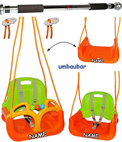 alles-meine.de GmbH 2 TLG. Set: Türreck + mitwachsende - 3 in 1 - Babyschaukel / Gitterschaukel - incl. Name - mit Rückenlehne - Schaukel für Kinder - Innen und Außen / Garten - ..