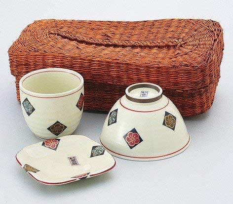 Saikai cerámica tradicional japonés Arita porcelana flor Ume (Plum) vajilla Set (1cuenco y 1taza y 1plato en cesta) 10614de Japón