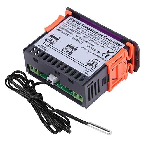 fasient1 Controlador de Temperatura Digital AC 110V-220V STC-3000 Interruptor táctil Mini termostato electrónico con Sensor para Granjas, invernaderos, Casas de refrigeración(110-220V30A)
