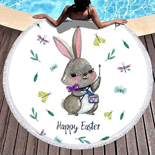 Gamoii Toalla de playa redonda con conejos de Pascua, manta de pícnic, de secado rápido, sin arena, con flecos, para hombre y mujer, color blanco, 150 cm