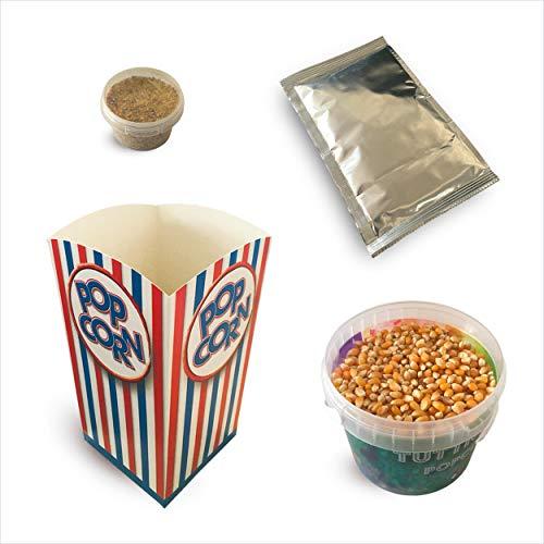 Fun Food Italia Kit ingredienti per la preparazione di 10 'spadellate' di popcorn al gusto Caramello + 10 bicchieri in cartone stile cinema