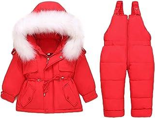 Bebé Chaqueta de Plumón de Invierno + Pantalones 2PC Set, Niños Niñas Trajes con Capucha Calentar Disfraz Esquí Ropa de Ab...