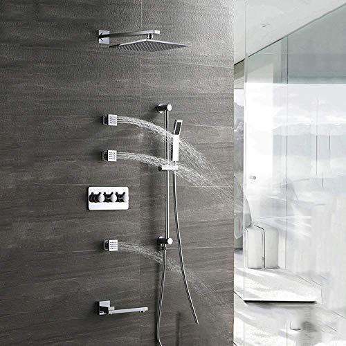 ZKAIAI montado en la pared Set de ducha caliente y fría de la ducha Set Top cobre grifo de la ducha aerosol de la ducha Sistema de 4 modos de Inicio de plata de 25 cm cuadrado de abastecimiento de agu