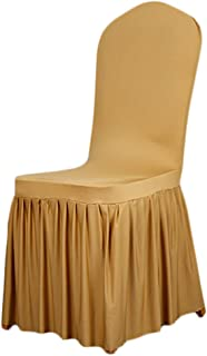 SoulFeel 1 x Long Stretch Spandex Dining Chair Cover Protectors, Super Fit Banquet Chair Seat Slipcovers for Hotel and Wedding Ceremony, Removable & Washable (Gold)