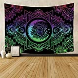 Qinunipoto Hippie Bohemian Mandala Tapestries Wall Hanging Trippy Ombre Sun And Moon Tapestry Psychedelic Boho Tapestry Abstract Art Blanket Wall Decor for Bedroom Living Room Home Decor 59x39inch