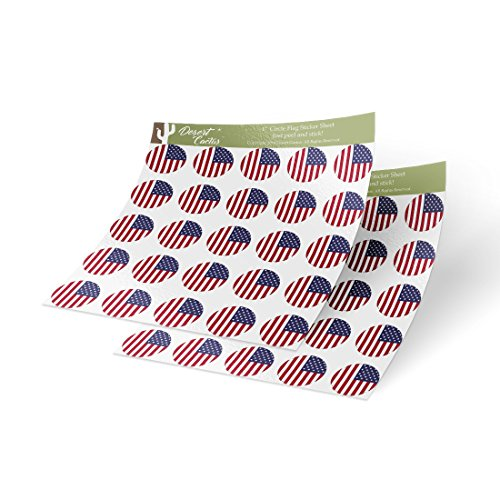 United States of America USA Country Flag Sticker Vinyl Decal 1 Inch Round Two Sheets 50 Total Pieces Kids Logo Scrapbook Car Laptop Laptop American C