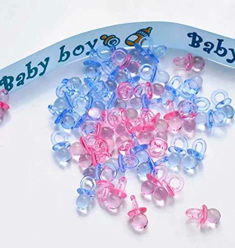 SANDIN 100 pcs. Mini Schnuller Baby Dusche Bevorzugungs Partei Dekorationen Taufe -Transparente Blau and rosa