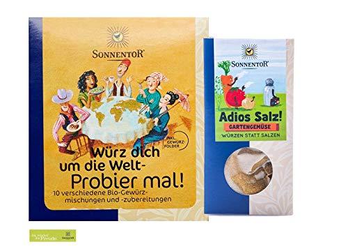 Sonnentor bio Gewürz-Set: Probier mal! Würz dich um die Welt + Adios Salz: Gartengemüse-Gewürzmischung BIO-AT-301