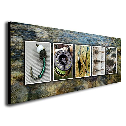 Personalized Fly Fishing Name Art - Perfect for the fly fisher, man cave, office, or boys room! (Block Mount - 6.5 x 18)