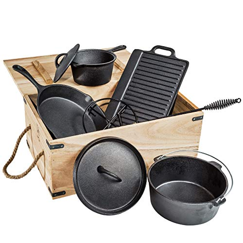 51ED9SPyC8L. SL500  - TecTake® 9 teiliges Dutch Oven Kochtopf Set aus Gusseisen in Holzkiste