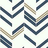 RoomMates RMK9002WP Blue and Metallic Gold Chevron Stripe Peel and Stick Wallpaper