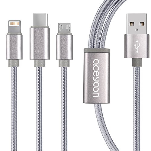 3 in 1 Charging Cable Fast 2.4A 4ft 1.2m, aceyoon Multi USB Cord Braided Charger Connector Adaptor Multiple Head Micro Type C Compatible for Phone and Android