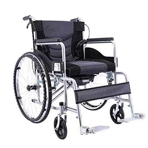 Amimilili Faltrollstuhl Leichter Rollstuhl Leichtgewichtrollstuhl Sitzbreite 50 cm,Schwarz