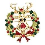 joyMerit Crystal Rhinestone Corona de Navidad Elk Broche Pin Mujeres Hombres Joyería de Navidad