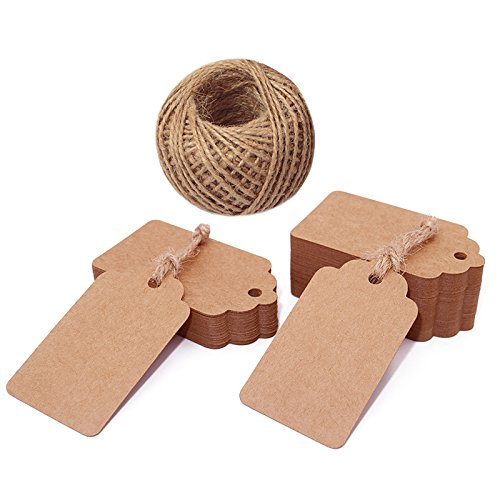 jijAcraft Kraft Paper Tags,100Pcs Brown Tags for Crafts,7X4CM Gift Tags Hang Tags with 30M Jute Twine