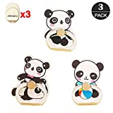 ZOEAST(TM) 3 Pack Bamboo Animal Ball Baby Phone Ring Grip Universal 360° Adjustable Holder Car Desk Hook Stand Stent Mount Kickstand Compatible with iPhone Samsung iPad Tablet (3pcs Cute Panda)