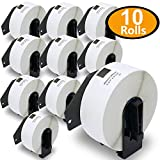 BETCKEY - Compatible DK-1201 Standard Address 1-1/7' x 3-1/2'(29mm x 90mm) Replacement Labels,Compatible with Brother QL Label Printers[10 Rolls/4000 Labels with Refillable Cartridge Frame]