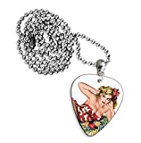 50s Pin Up Girl Flower In Hair Guitarra Pick Necklace Collar (GD)...