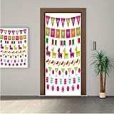 Fiesta ONE Piece Door Stickers,Latin American Motifs Flags Chili Peppers Cocktails Mexican Flag Color Party Pattern Decorative 30x80' Peel & Stick Removable Wall Mural,Decal,Poster for Door/Wall/Fridg