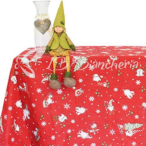 R.P. Tovaglia Natale MAGIA del Bosco Elfi E GNOMI - 100% Cotone - Made in Italy - Rettangolare cm 140x300 (16-18 Persone) - Rosso