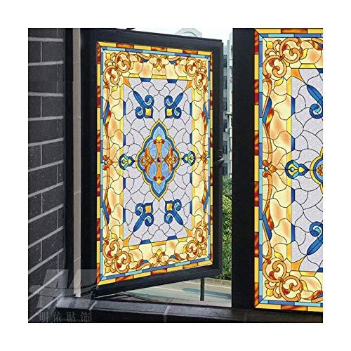 Siunwdiy Statische Fenster-Folie, Selbstklebend Window Film Dekorative Buntglas, Bereifte Privacy Opaque-Fenster-Aufkleber Schlafzimmer Badezimmer Wohnzimmer Glas,45x120cm