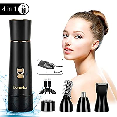 Ladies Facial Hair Removal, Wet and Dry Electric Shaver for Women, USB Rechargeable 4 in 1 Painless Facial Hair Remover, Nose Trimmer, Eyebrow Trimmer Body Groomer. Waterproof by FAMATE