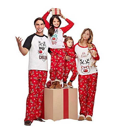 Multitrust Family Matching Christmas Pajamas Set Deer Tops and Long Pants Sleepwear for Family (6-9M, Infant)
