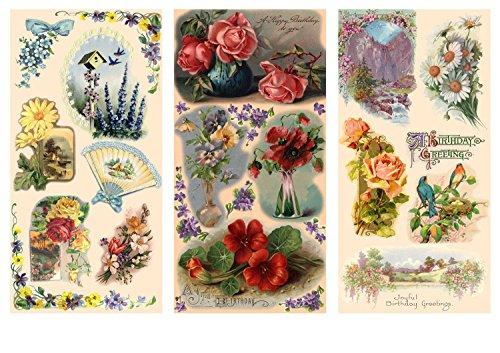 Decoupage Paper Pack (12 Sheets A4 / 8x11) Flowers Landscapes Garden FLONZ Vintage Ephemera