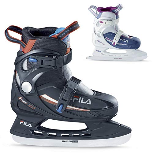 FILA SKATES - J-One Adjustable Ice Skates for Girls and Boys - Junior Adjustable Ice Skates (White/Light Blue, Large - Big Kid 5-7)