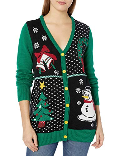Ugly Christmas Sweater Company Women's Assorted Xmas Cardigan Sweaters, Black Button-Front Christmas Cardigan, Large